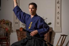 Foto: Sven Thomann, 1.7.2021, Obernau (LU): Fechter Max Heinzer macht bei Hugo Ulrich im Kumaizasa Dojo einen Samurai Kurs.
